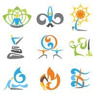 Ensemble d'emblèmes de yoga vecteur