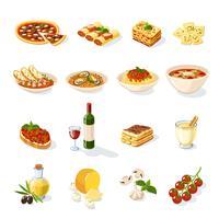 Set de cuisine italienne vecteur