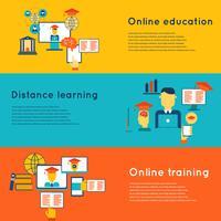 Jeu de bannières d'éducation en ligne vecteur
