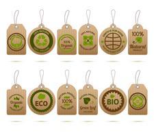 Ecologie Carton Tags vecteur