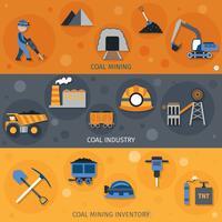 Bannières de l'industrie du charbon vecteur