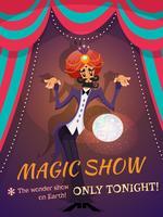 Affiche de spectacle magique vecteur