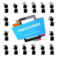 toucher des icônes de gestes noir