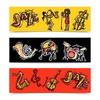 Ensemble de bannières Jazz vecteur