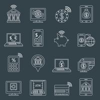 Contour d'icônes de services bancaires mobiles vecteur