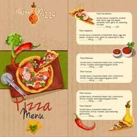 Menu de restaurant de pizza