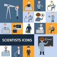 jeu d'icônes de scientifiques vecteur