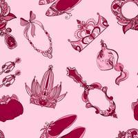 Accessoires princesse sans couture vecteur