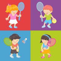 Enfants jouant au tennis vecteur