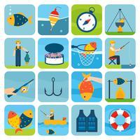 Jeu d'icônes de pêche