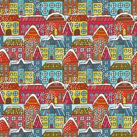 Modèle sans couture maisons d'hiver vecteur