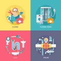 Composition d'icônes de plomberie à plat