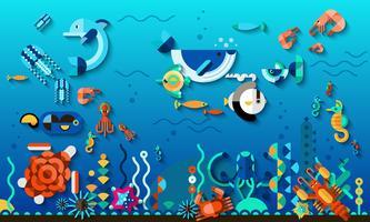 Concept du monde sous-marin vecteur