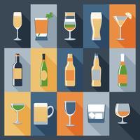 Boire des icônes plat