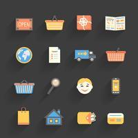 Icônes de dessin animé définies pour la boutique en ligne