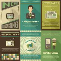 Journaliste Affiche Set vecteur