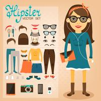 Pack personnage hipster pour geek girl vecteur