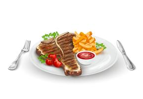 Steak grillé sur assiette vecteur