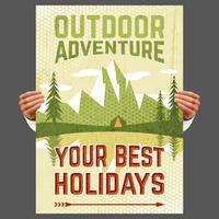 Affiche de tourisme d'aventure en plein air vecteur