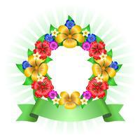 Cadre couronne de fleurs tropicales