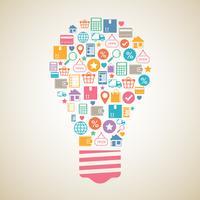 Ampoule créatif shopping sur Internet vecteur