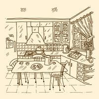 Croquis intérieur de cuisine vecteur