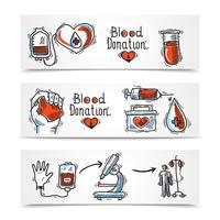 Ensemble de bannières de donateurs vecteur