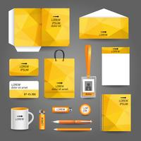 Modèle de papeterie d'affaires technologie géométrique jaune