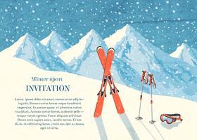 Carte de paysage de montagne de ski hiver vecteur