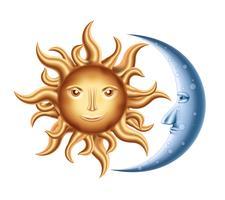 Lune et soleil vecteur