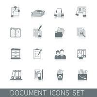 icône de document noir vecteur