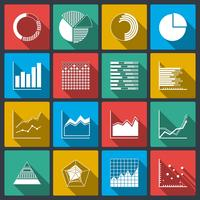 Icônes d'affaires de graphiques et graphiques de classement vecteur