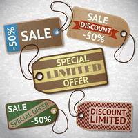 Collection d'étiquettes de vente en carton discount