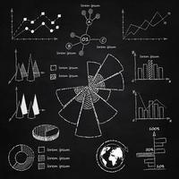 Diagrammes infographiques à la craie vecteur