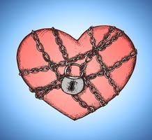 Coeur verrouillé avec emblème de chaînes