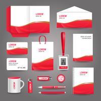 Modèle de papeterie d'affaires abstrait ondulé rouge
