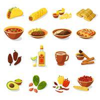 Set de cuisine mexicaine vecteur