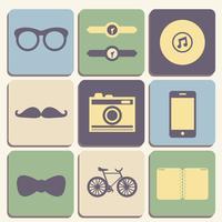 Jeu d'icônes hipster vecteur