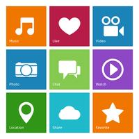 Éléments d'interface utilisateur de médias sociaux vecteur