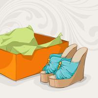 Sandales bleues pour femme vecteur