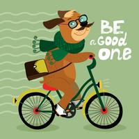 Affiche de hipster avec chien nerd