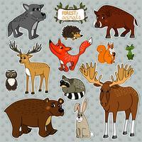 renard cerf hibou animaux vecteur