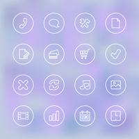 Iconset pour l'interface utilisateur de l'application mobile, transparent clair vecteur