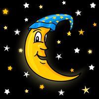 Lune en bonnet de nuit avec étoiles