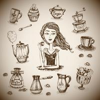 L'amour de la scène du café vecteur