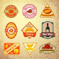 Collection de coupons alimentaires ou d'étiquettes vecteur