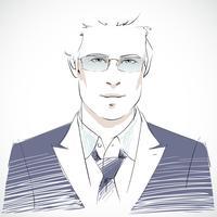 Portrait de jeune homme d'affaires élégant vecteur