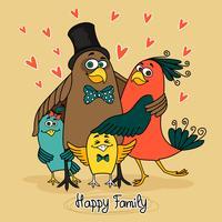 oiseaux famille heureuse vecteur