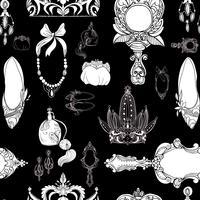 Accessoires princesse sans couture sur fond noir vecteur