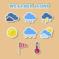 Jeu d'icônes météo, autocollants de couleur vecteur